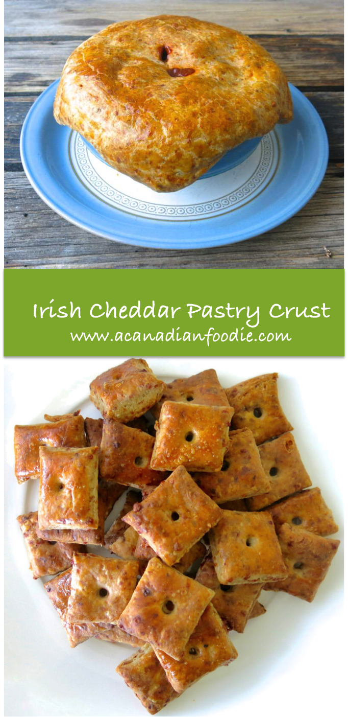 Laureen's Irish Cheddar Stout Pastry Crust is a delicious topping over any Stew but particularly over a Classic Irish Stew; also makes nippy Cocktail Crackers! www.acanadianfoodie.com #ACFValerieCookingwithYOU