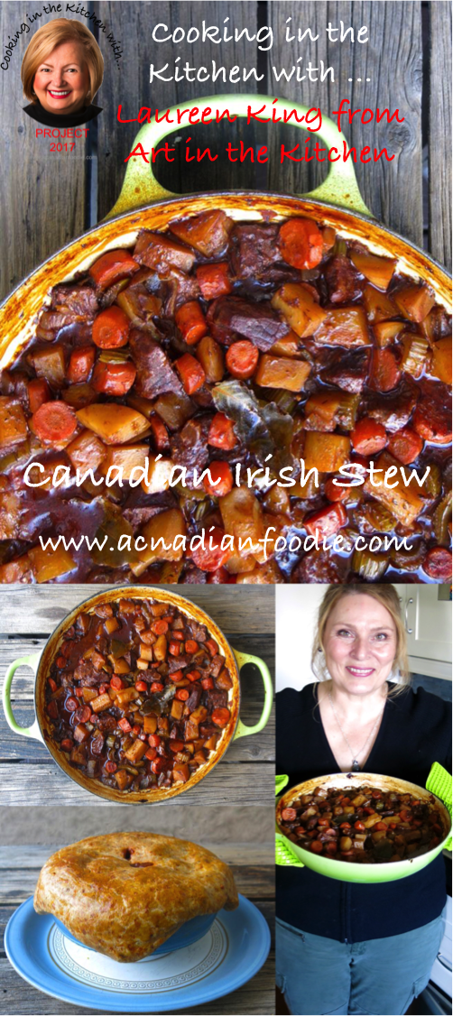 Cooking Canadian Irish Stew in the Kitchen with Laureen King from Art in the Kitchen. Beef Irish Stew with Guinness and red wine: step by step images included. www.acanadianfoodie.com #ACFValerieCookingwithYOU