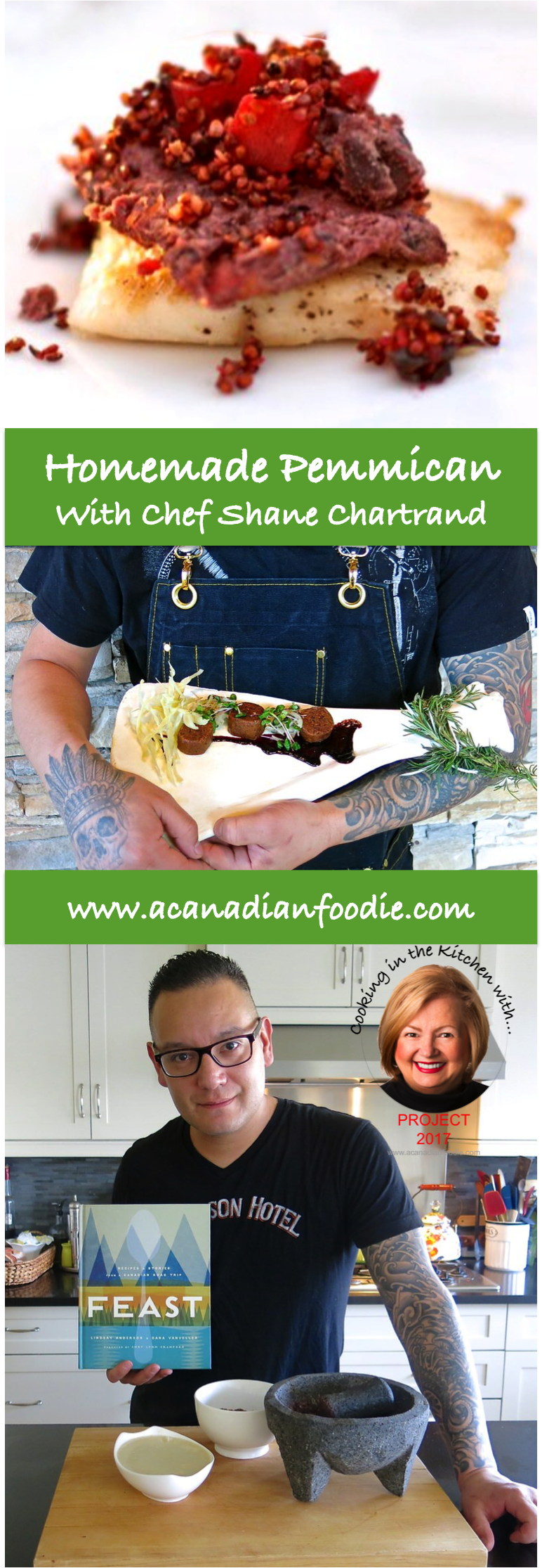Homemade Pemmican: Canada's First Energy Bar! Valerie in the Kitchen with Chef Shane Chartrand of Marrow, Progressive Indigenous Cuisine with step-by-step images. www.acanadianfoodie.com #ACFValerieCookingwithYOU!