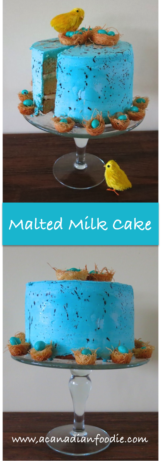 Malted Milk Cake with Malted Cream Filling and Coconut Butter Cream Frosting: A Speckled Robin's Egg Blue Celebration of Spring and New Beginnings ! #ACFOriginalRecipe www.acanadianfoodie.com