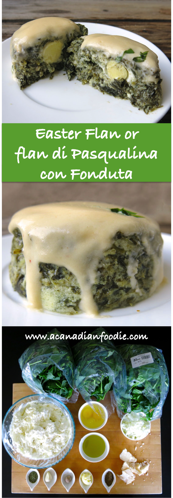 Pasqualina Flan with Fondu Saucefor Easter with Baby Kale, Spinach and Quail Eggs or flan di Pasqualina con Fonduta! A scrumptious celebration of Spring and the best place to hide your Easter Eggs! www.acanadianfoodie.com