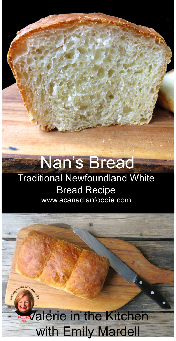 Nan's Bread: In the Kitchen with Emily Mardell at GetJoyFull. Dough for both Traditional Newfoundland Toutons and bread!  #ACFValerieCookingWithYou