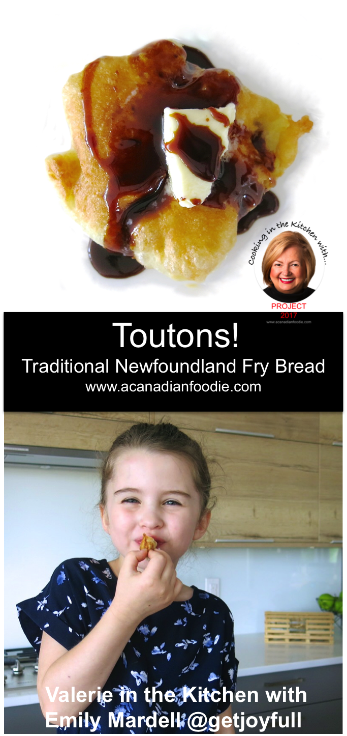 Traditional Newfoundland Toutons: In the Kitchen with Emily Mardell at GetJoyfull with mother, Joy, and daughter, Sela! Step-by-step images! #ACFValerieCookingWithYou Traditionally served with Fancy Molasses and Butter, Partridgeberry Jam is also delicious with them.