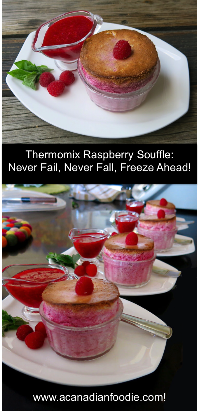Nico Moretti's Thermomix Raspberry Souffle with Raspberry Coulis: a never fall, never fail souffle. Even freezes in advance for a spectacular grand finale!