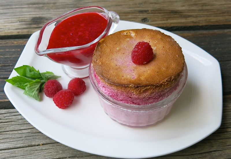 Thermomix Raspberry Souffle by Nico Moretti with Raspberry Coulis
