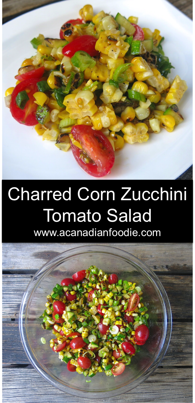 Charred Corn Zucchini Tomato Salad is a simple celebration of the August Harvest in a Bowl. Delicious, nutritious, pretty and economical! #summersalad #harvestsalad