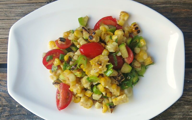 Charred Corn Zucchini Tomato Salad