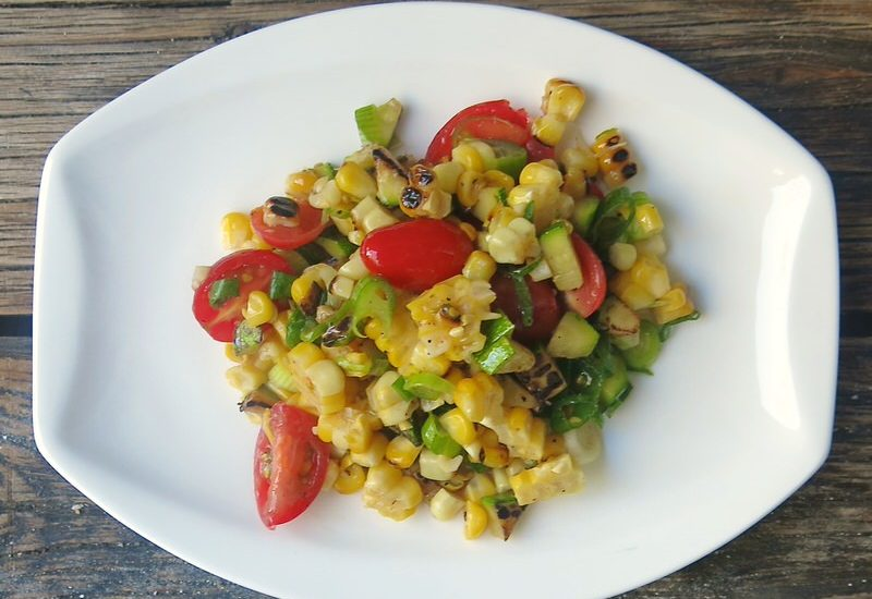 Charred Corn Zucchini and Tomato Salad: August Harvest in a Bowl