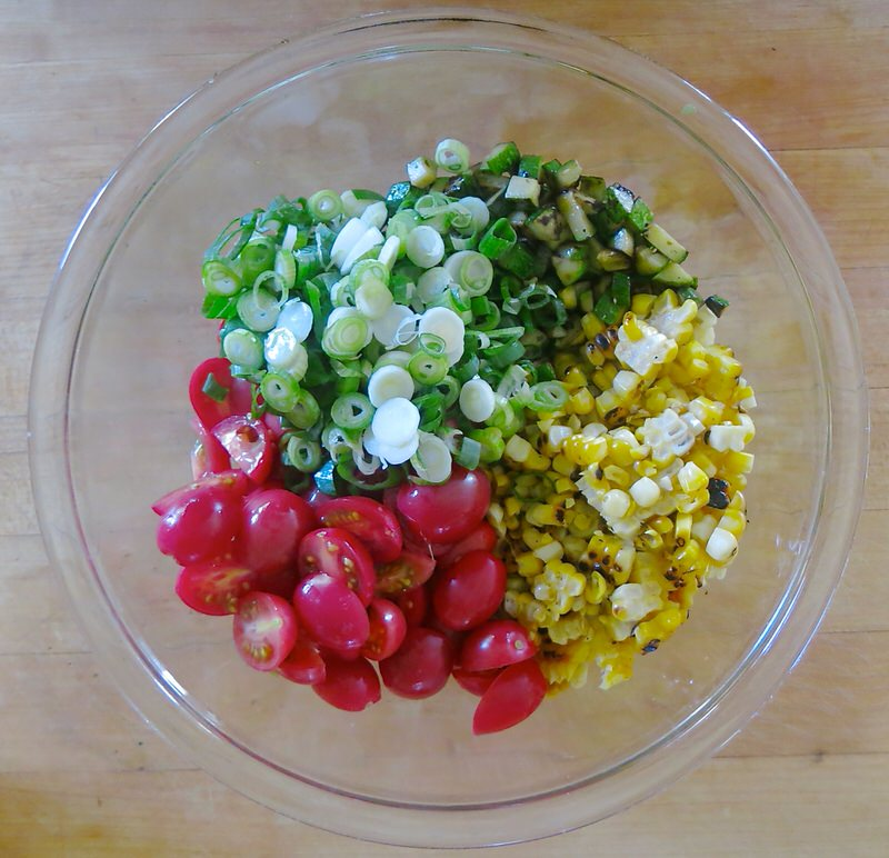 Charred Corn, Zucchini and Tomato Salad