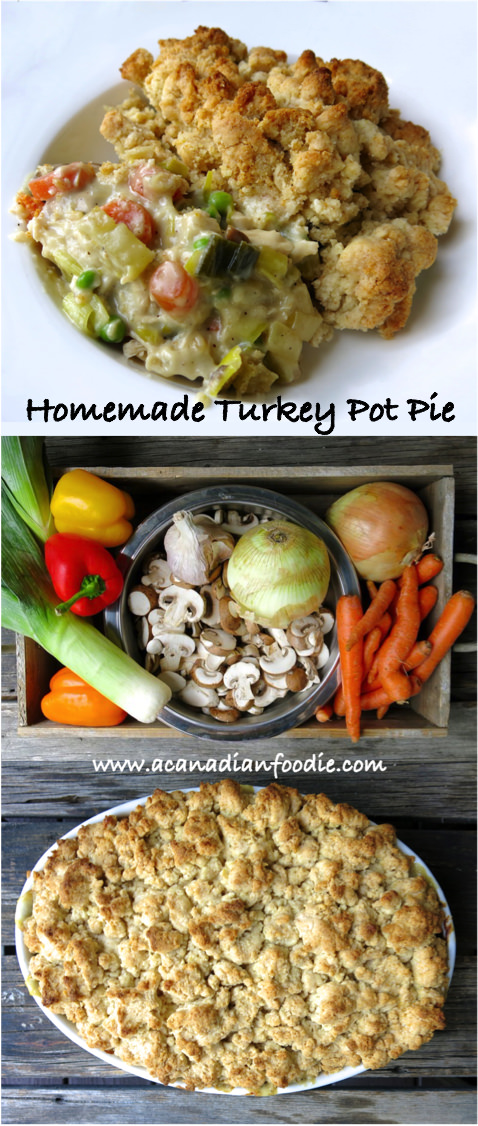 Homemade Turkey Pot Pie with Buttermilk Biscuit Topping is a great way to use leftover turkey. This traditional Canadian prairie recipe is a complete meal with a crisp side salad. #turkeypotpie #turkeypie #Canadianfood