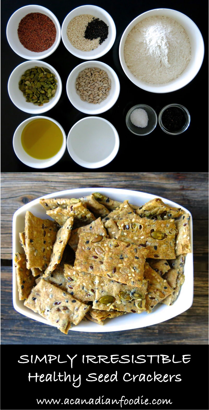 Healthy Seed Crackers are homemade, delicious, nutritious and economical. Control what you eat by making your own food and crackers are easy! Simply irresistible!  #Thermomixcrackers #seedcrackers #homemadecrackers