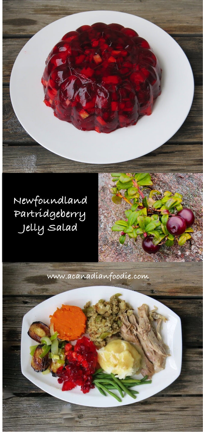 Partridgeberry Jelly Salad is a very simple, delicious Newfoundland Holiday Meal Recipe. This jewelled bobble is a perfect foil for a rich festive turkey dinner. It has become a family staple. The hard part is accessing the scrumptious partridgeberries! #partridgeberry #partridgeberrysalad #Canadianberries