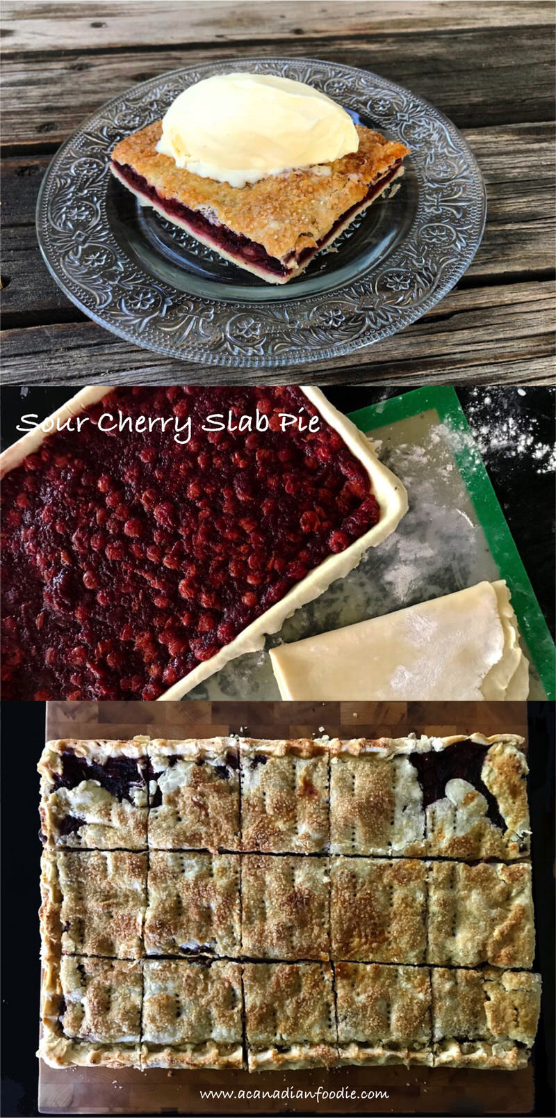 Sour Cherry Slab Pie: A Simple Twist on a Traditional Recipe! A little more pastry the pie filling creates a hand pie experience perfect for picnics. #sourcherries #cherrypie #cherryhandpie #cherryslabpie