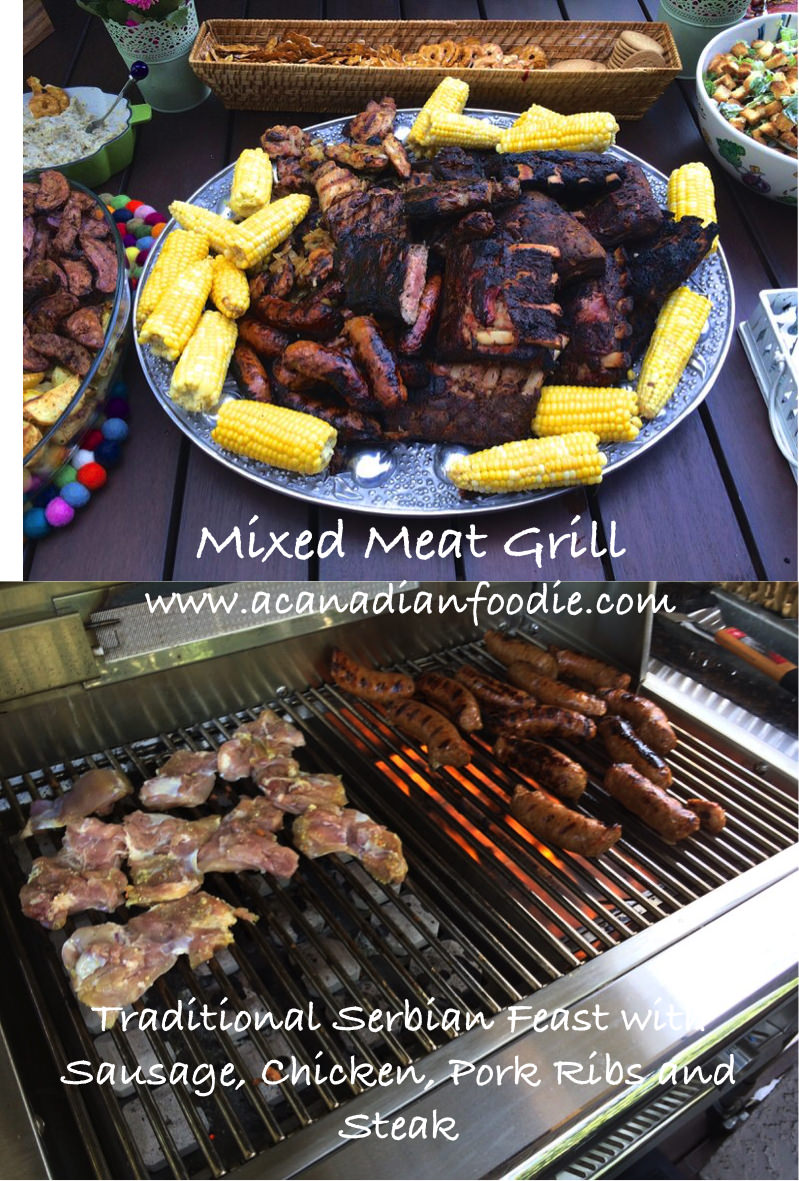 Mixed Meat Grill: Traditional Serbian Feast with Sausage, Chicken, Pork Ribs and Steak. #serbianmixedmeatgrill #mixedmeatgrill #balkanmixedmeatgrill