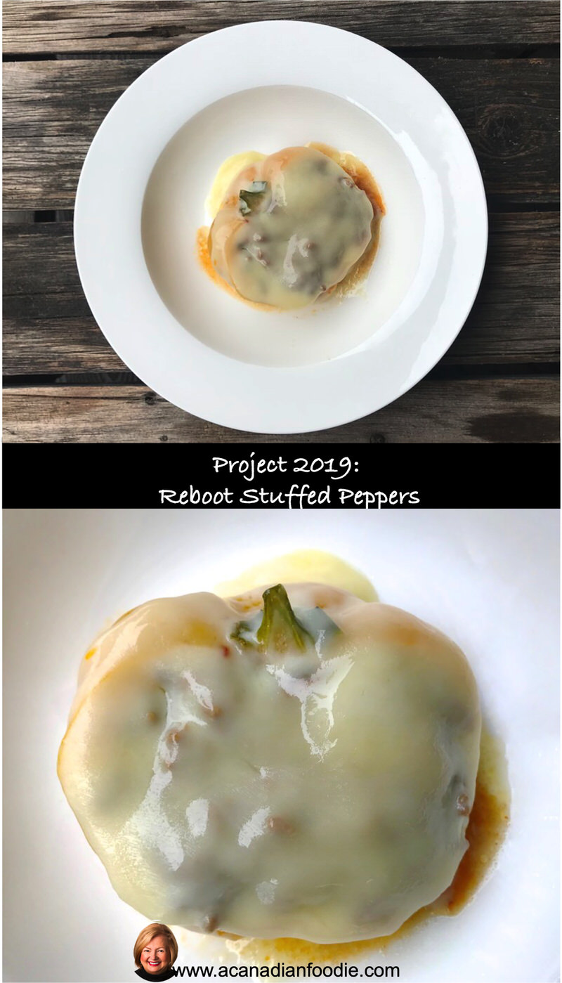 Reboot Stuffed Peppers with 80% Lean Beef and Oven Dried Tomatoes are a delicious, nutritious, economical make-ahead freezer meal! #ACFReboot #LCHFPeppers